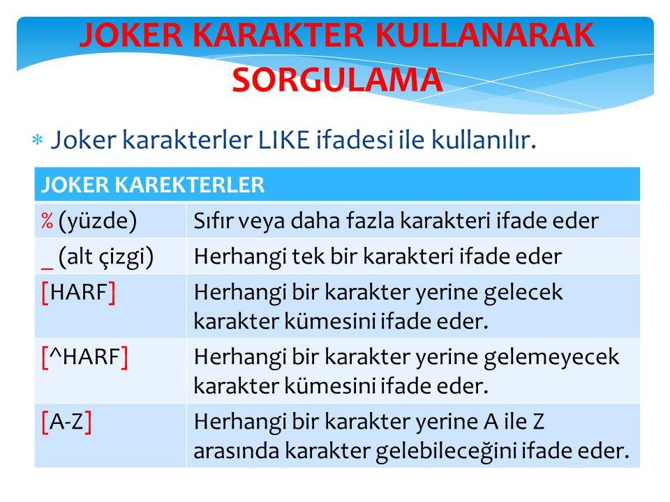JOKER KARAKTER KULLANARAK SORGULAMA  Joker karakterler LIKE ifadesi ile kullanılır.