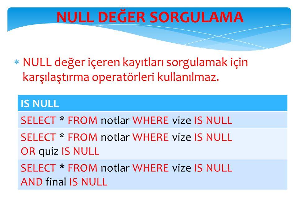 NULL DEĞER SORGULAMA  NULL değer içeren kayıtları sorgulamak için karşılaştırma operatörleri kullanılmaz.
