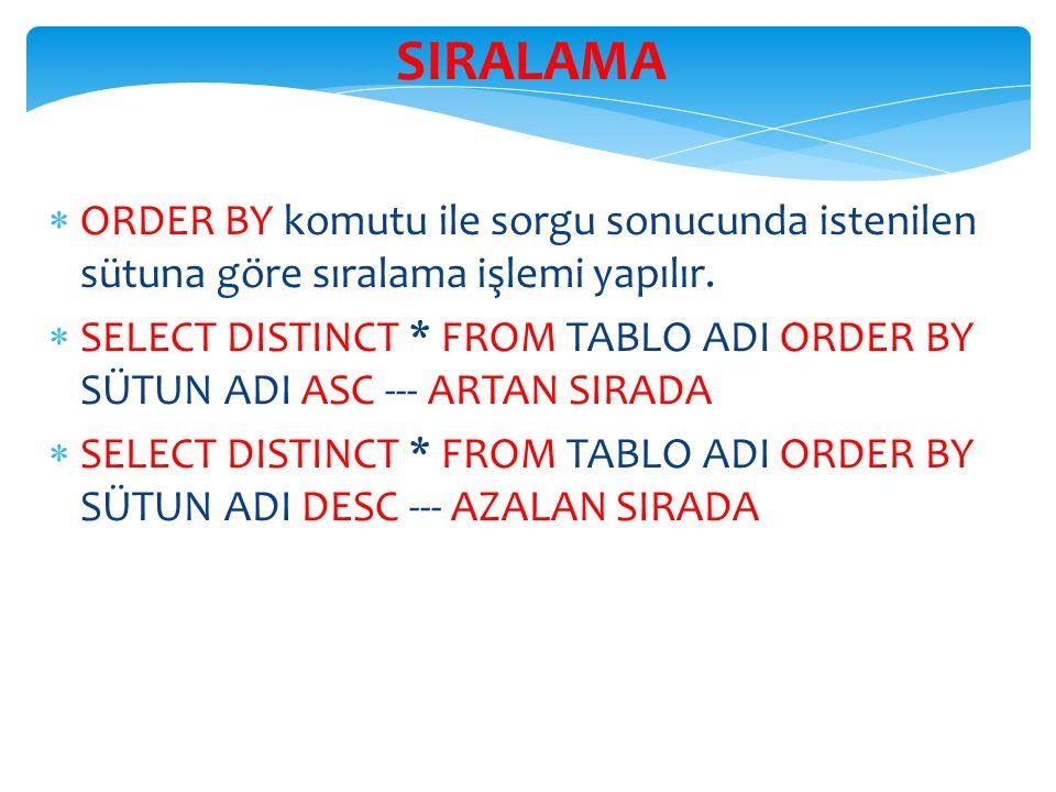 SIRALAMA  ORDER BY komutu ile sorgu sonucunda istenilen sütuna göre sıralama işlemi yapılır.