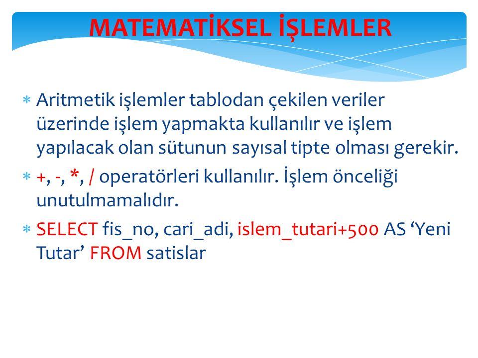 MATEMATİKSEL İŞLEMLER  Aritmetik işlemler tablodan çekilen veriler üzerinde işlem yapmakta kullanılır ve işlem yapılacak olan sütunun sayısal tipte olması gerekir.