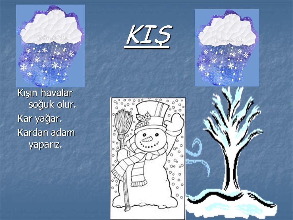 KIŞ Kışın havalar soğuk olur. Kar yağar. Kardan adam yaparız.