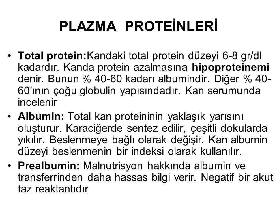 PLAZMA PROTEİNLERİ Total protein:Kandaki total protein düzeyi 6-8 gr/dl kadardır. Kanda protein azalmasına hipoproteinemi denir. Bunun % 40-60 kadarı