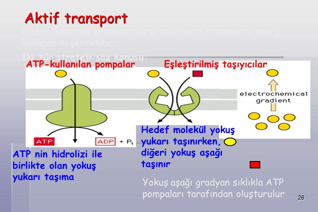 26 Elektrokimyasal gradyana karşı solütlerin transportu enerji kullanımını gerektirir İki tür strateji söz konusu: ATP-kullanılan pompalar Eşleştirilmiş taşıyıcılar Hedef molekül yokuş yukarı taşınırken, diğeri yokuş aşağı taşınır ATP nin hidrolizi ile birlikte olan yokuş yukarı taşıma Yokuş aşağı gradyan sıklıkla ATP pompaları tarafından oluşturulur Aktif transport
