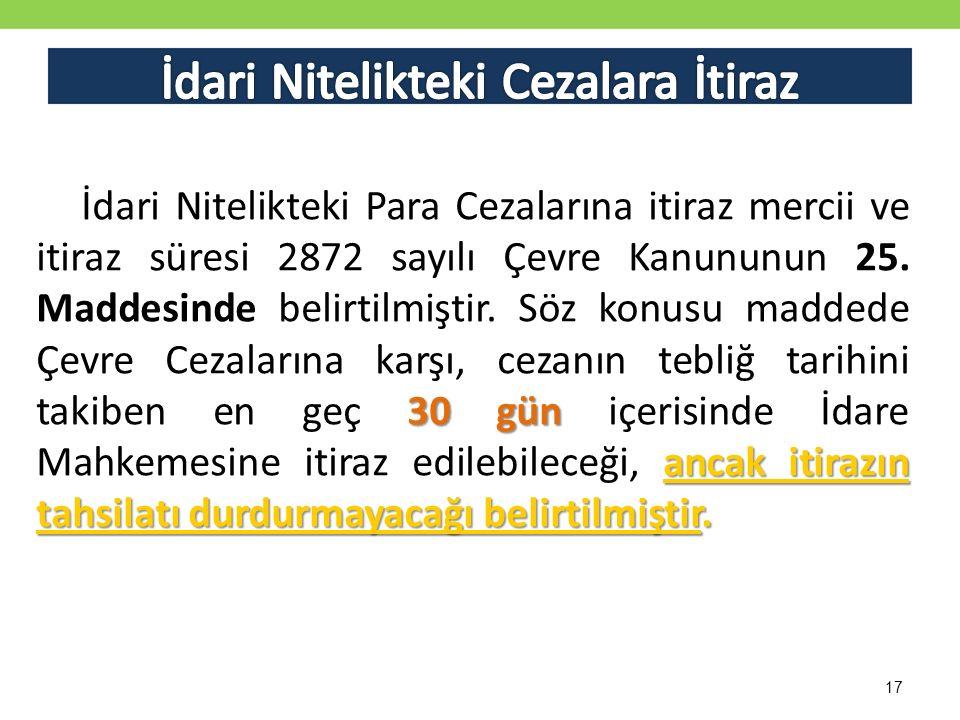 17 30 gün ancak itirazın tahsilatı durdurmayacağı belirtilmiştir.