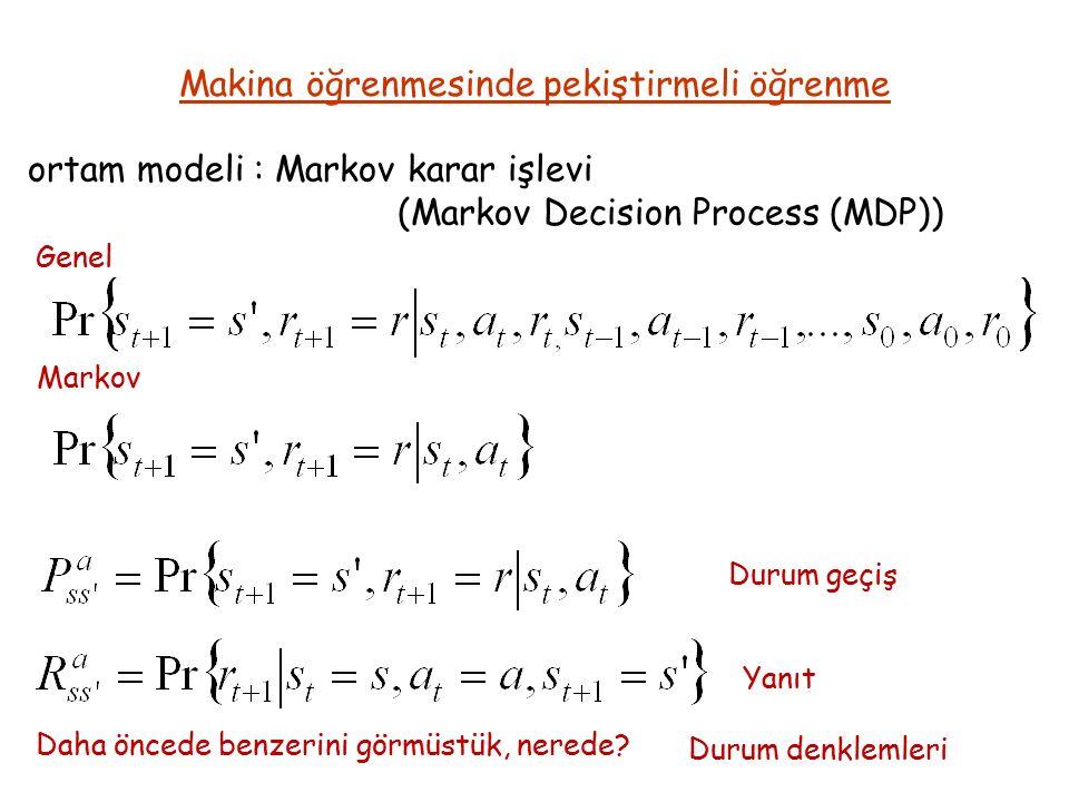 ortam modeli : Markov karar işlevi (Markov Decision Process (MDP)) Makina öğrenmesinde pekiştirmeli öğrenme Genel Markov Daha öncede benzerini görmüstük, nerede.