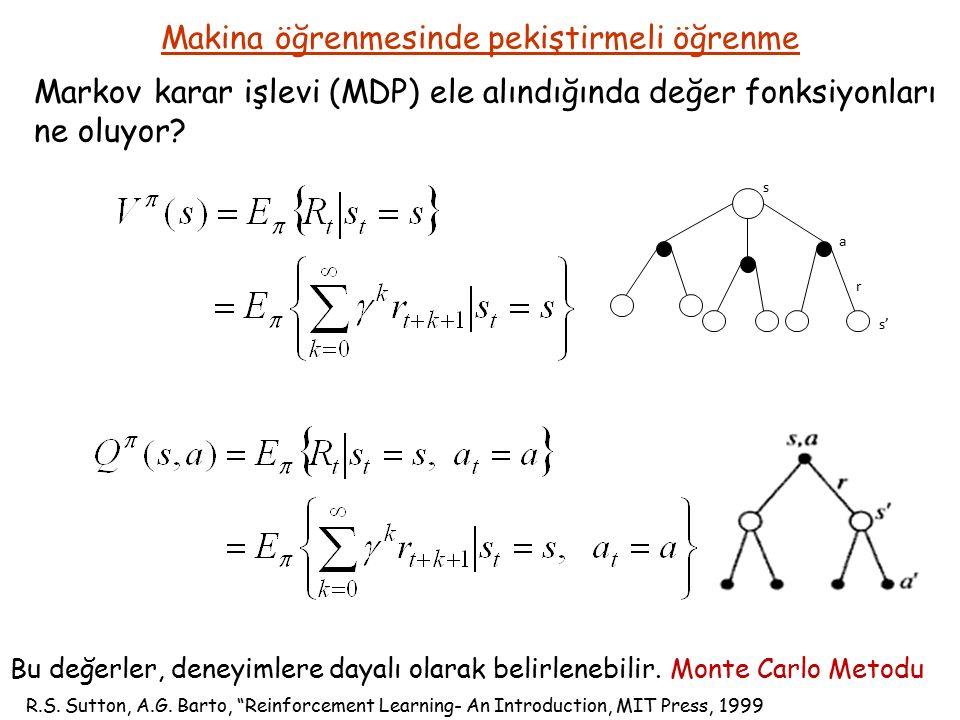 Makina öğrenmesinde pekiştirmeli öğrenme Markov karar işlevi (MDP) ele alındığında değer fonksiyonları ne oluyor.