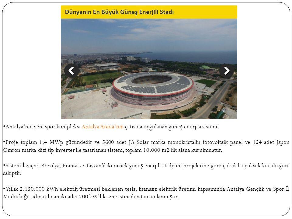 Antalya'nın yeni spor kompleksi Antalya Arena'nın çatısına uygulanan güne ş enerjisi sistemi Proje toplam 1,4 MWp gücündedir ve 5600 adet JA Solar marka monokristalin fotovoltaik panel ve 124 adet Japon Omron marka dizi tip inverter ile tasarlanan sistem, toplam 10.000 m2 lik alana kurulmu ş tur.