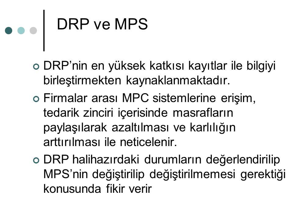 DRP ve MPS DRP'nin en yüksek katkısı kayıtlar ile bilgiyi birleştirmekten kaynaklanmaktadır. Firmalar arası MPC sistemlerine erişim, tedarik zinciri i
