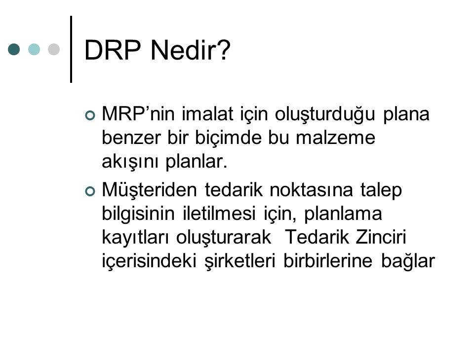 DRP Nedir? MRP'nin imalat için oluşturduğu plana benzer bir biçimde bu malzeme akışını planlar. Müşteriden tedarik noktasına talep bilgisinin iletilme