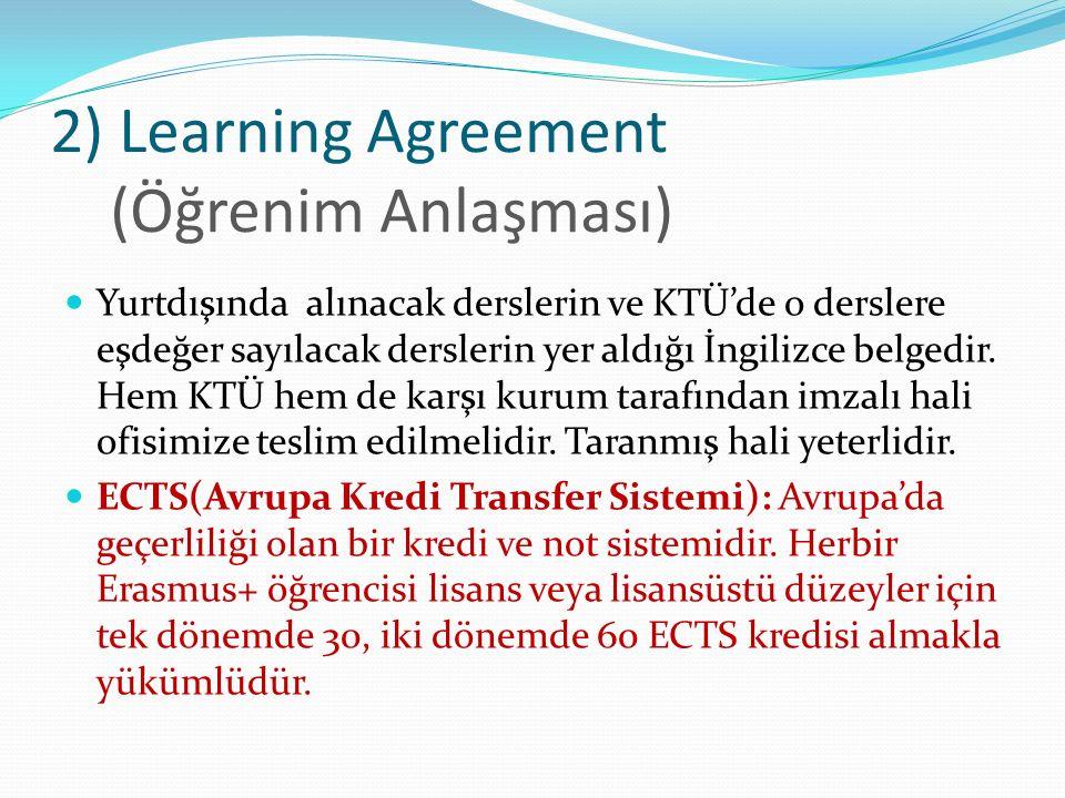 *3) Changes to Original Learning Agreement (Değiştirilmiş Öğrenim Anlaşması) Yurtdışına çıkıldıktan sonra ders değişikliği yapılması gerekirse hazırlanır.