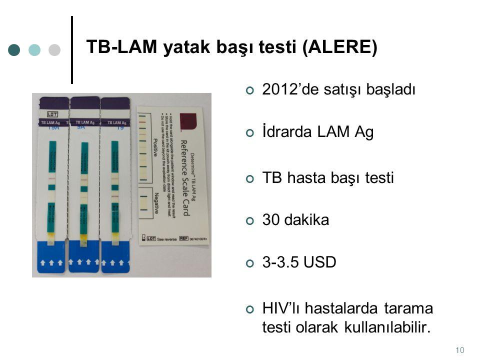 2012'de satışı başladı İdrarda LAM Ag TB hasta başı testi 30 dakika 3-3.5 USD HIV'lı hastalarda tarama testi olarak kullanılabilir. 10 TB-LAM yatak ba