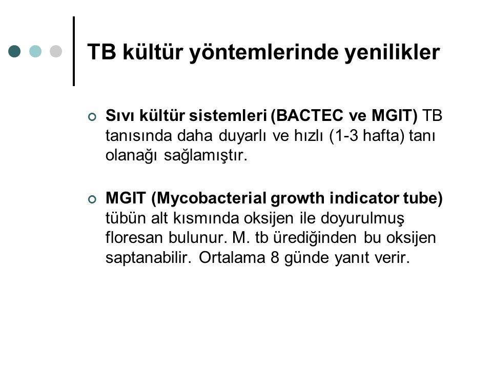 TB kültür yöntemlerinde yenilikler Sıvı kültür sistemleri (BACTEC ve MGIT) TB tanısında daha duyarlı ve hızlı (1-3 hafta) tanı olanağı sağlamıştır. MG