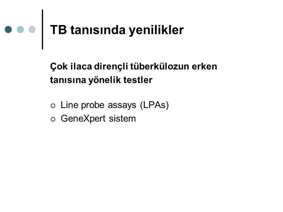 TB tanısında yenilikler Çok ilaca dirençli tüberkülozun erken tanısına yönelik testler Line probe assays (LPAs) GeneXpert sistem