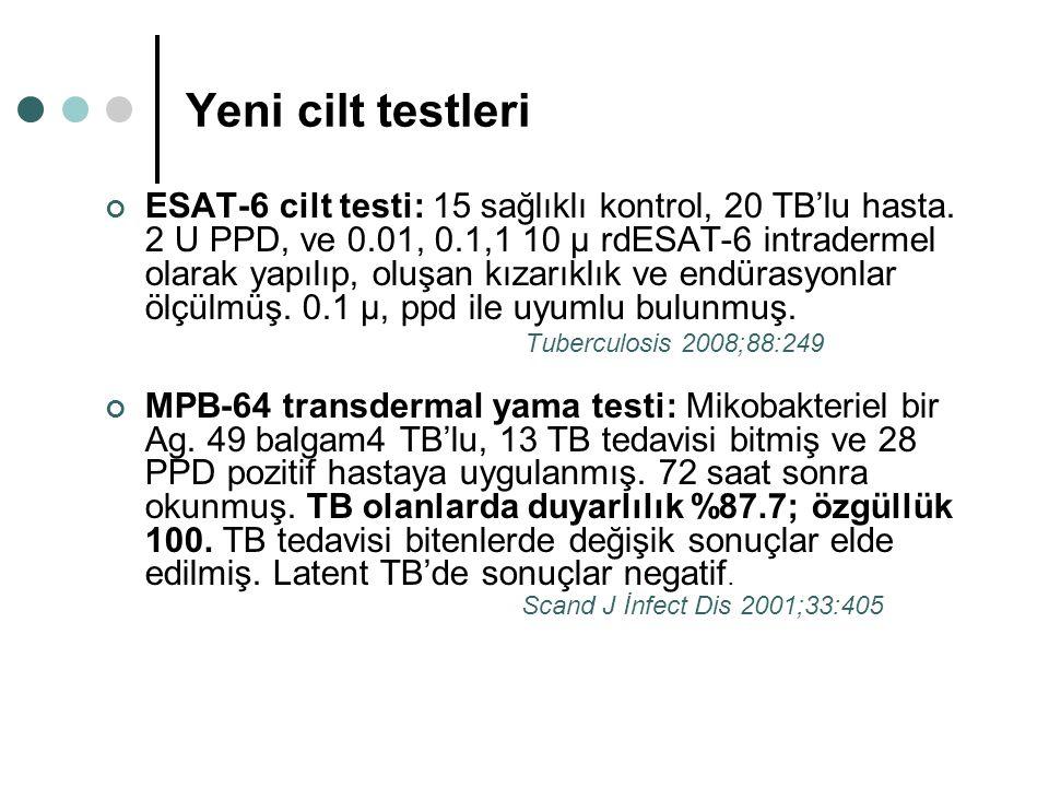Yeni cilt testleri ESAT-6 cilt testi: 15 sağlıklı kontrol, 20 TB'lu hasta. 2 U PPD, ve 0.01, 0.1,1 10 µ rdESAT-6 intradermel olarak yapılıp, oluşan kı