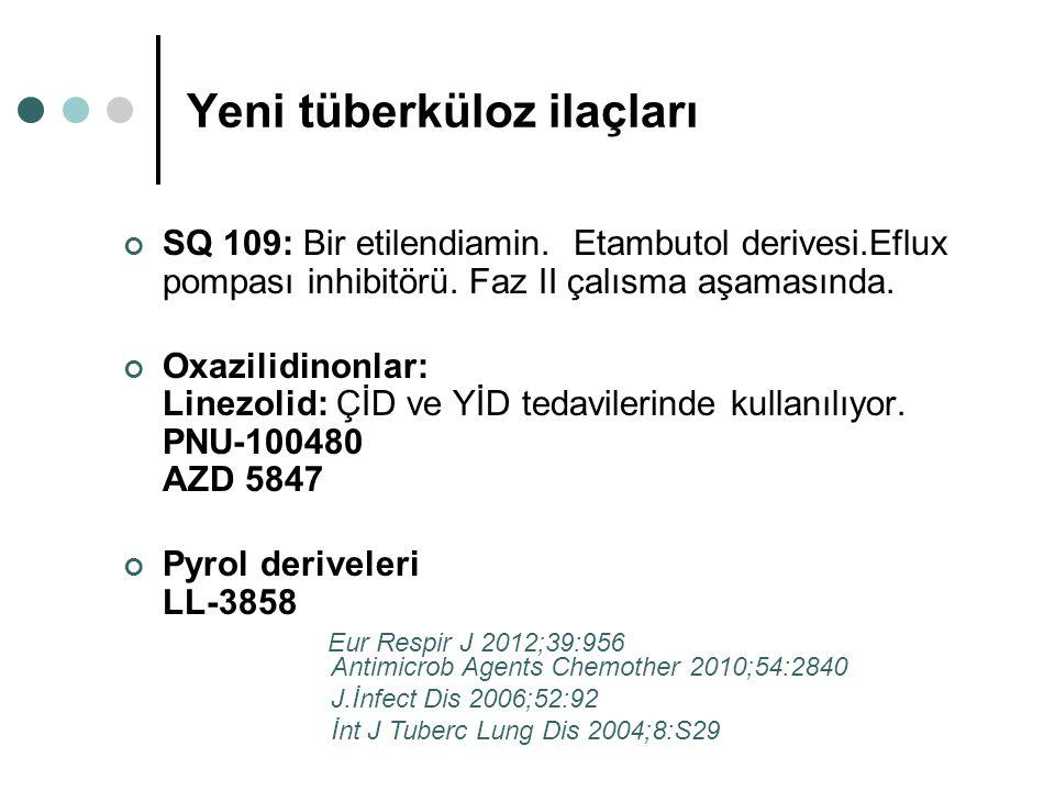 Yeni tüberküloz ilaçları SQ 109: Bir etilendiamin. Etambutol derivesi.Eflux pompası inhibitörü. Faz II çalısma aşamasında. Oxazilidinonlar: Linezolid: