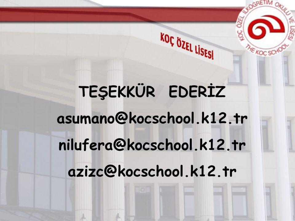 TEŞEKKÜR EDERİZ asumano@kocschool.k12.tr nilufera@kocschool.k12.tr azizc@kocschool.k12.tr