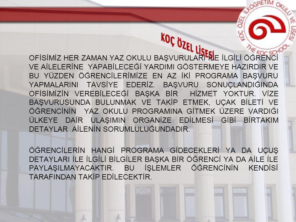www.kocschool.k12.tr Akademik Rehberlik Yurtdışı Üniversite Rehberlik Yaz Okulu