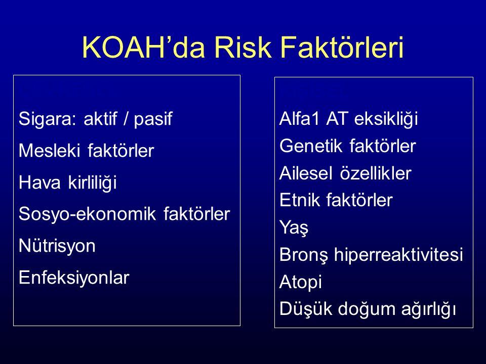 KOAH'da Risk Faktörleri ÇEVRESEL Sigara: aktif / pasif Mesleki faktörler Hava kirliliği Sosyo-ekonomik faktörler Nütrisyon Enfeksiyonlar KİŞİSEL Alfa1