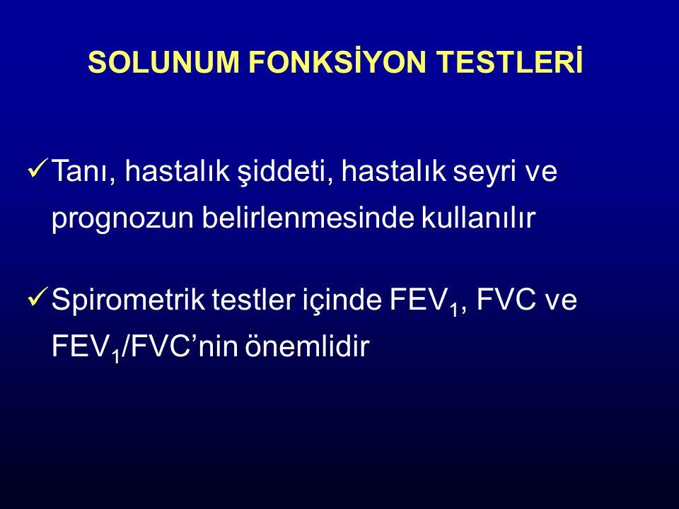 SOLUNUM FONKSİYON TESTLERİ Tanı, hastalık şiddeti, hastalık seyri ve prognozun belirlenmesinde kullanılır Spirometrik testler içinde FEV 1, FVC ve FEV