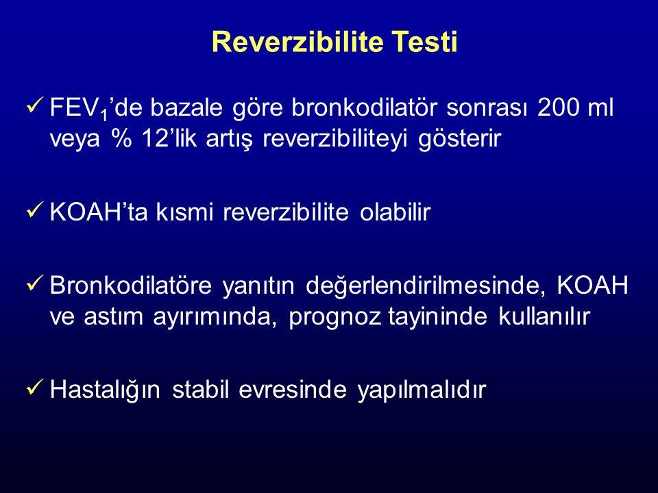 Reverzibilite Testi FEV 1 'de bazale göre bronkodilatör sonrası 200 ml veya % 12'lik artış reverzibiliteyi gösterir KOAH'ta kısmi reverzibilite olabil
