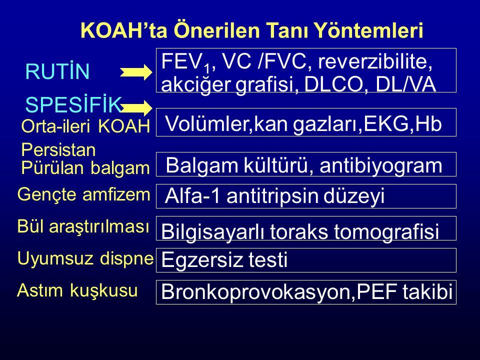KOAH'ta Önerilen Tanı Yöntemleri SPESİFİK Orta-ileri KOAH Volümler,kan gazları,EKG,Hb Persistan Pürülan balgam RUTİN FEV 1, VC /FVC, reverzibilite, ak