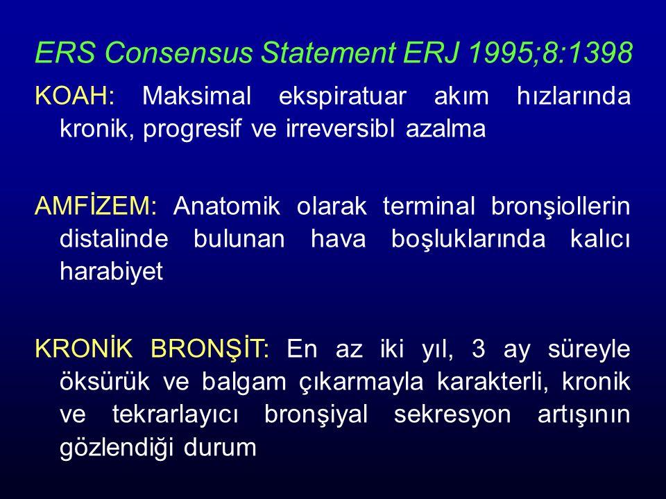 ERS Consensus Statement ERJ 1995;8:1398 KOAH: Maksimal ekspiratuar akım hızlarında kronik, progresif ve irreversibl azalma AMFİZEM: Anatomik olarak te