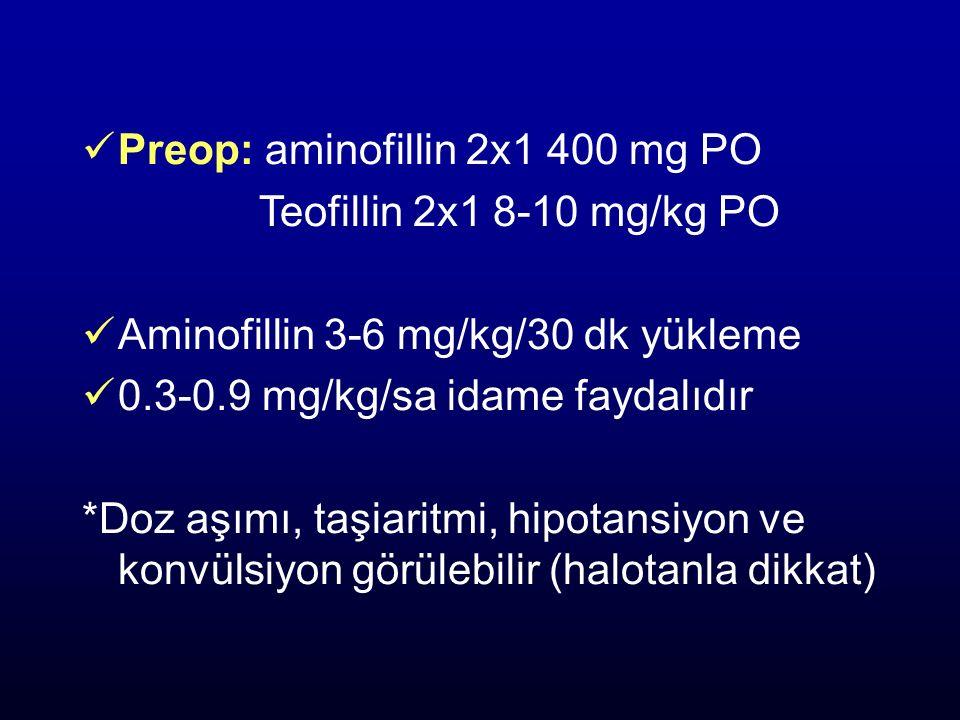 Preop: aminofillin 2x1 400 mg PO Teofillin 2x1 8-10 mg/kg PO Aminofillin 3-6 mg/kg/30 dk yükleme 0.3-0.9 mg/kg/sa idame faydalıdır *Doz aşımı, taşiari