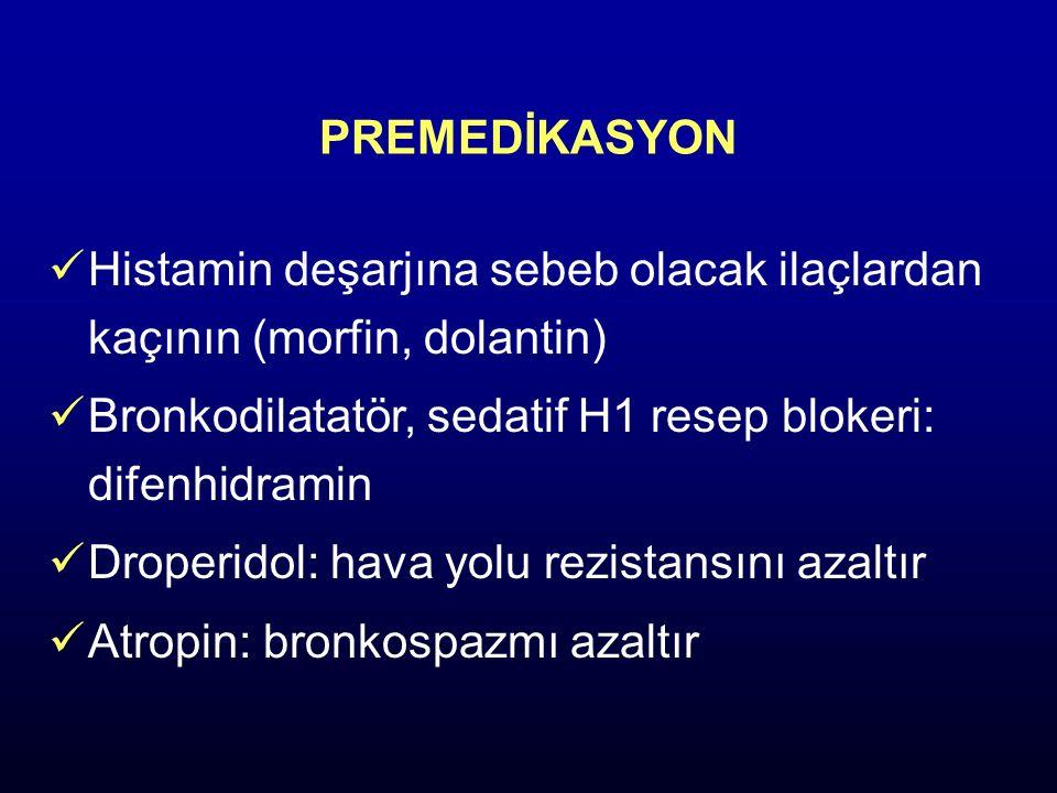 PREMEDİKASYON Histamin deşarjına sebeb olacak ilaçlardan kaçının (morfin, dolantin) Bronkodilatatör, sedatif H1 resep blokeri: difenhidramin Droperido