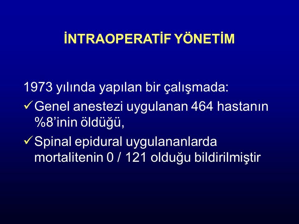 İNTRAOPERATİF YÖNETİM 1973 yılında yapılan bir çalışmada: Genel anestezi uygulanan 464 hastanın %8'inin öldüğü, Spinal epidural uygulananlarda mortali