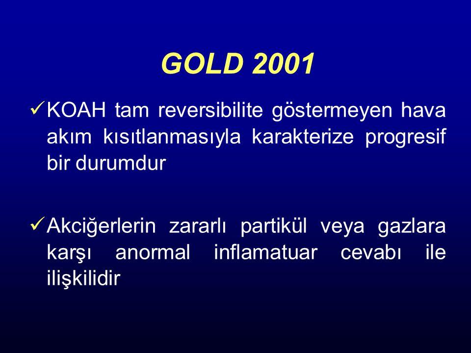 GOLD 2001 KOAH tam reversibilite göstermeyen hava akım kısıtlanmasıyla karakterize progresif bir durumdur Akciğerlerin zararlı partikül veya gazlara k