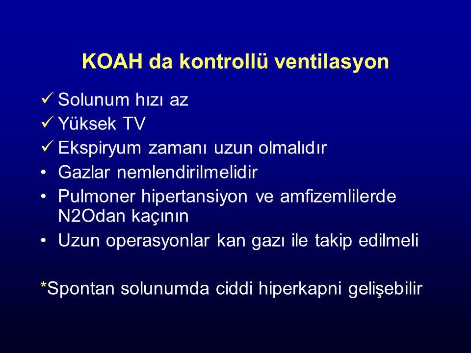 KOAH da kontrollü ventilasyon Solunum hızı az Yüksek TV Ekspiryum zamanı uzun olmalıdır Gazlar nemlendirilmelidir Pulmoner hipertansiyon ve amfizemlil