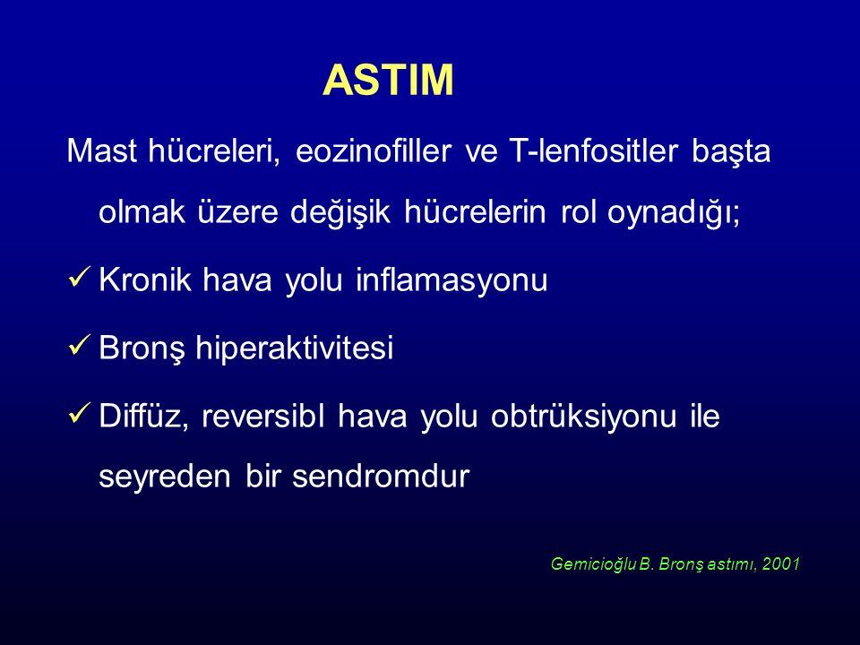 ASTIM Mast hücreleri, eozinofiller ve T-lenfositler başta olmak üzere değişik hücrelerin rol oynadığı; Kronik hava yolu inflamasyonu Bronş hiperaktivi