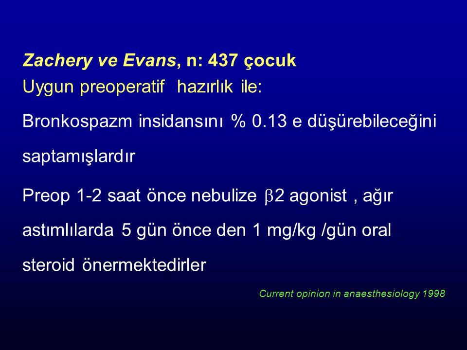 Zachery ve Evans, n: 437 çocuk Uygun preoperatif hazırlık ile: Bronkospazm insidansını % 0.13 e düşürebileceğini saptamışlardır Preop 1-2 saat önce ne
