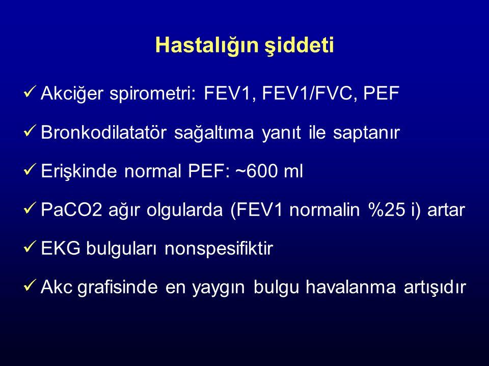Hastalığın şiddeti Akciğer spirometri: FEV1, FEV1/FVC, PEF Bronkodilatatör sağaltıma yanıt ile saptanır Erişkinde normal PEF: ~600 ml PaCO2 ağır olgul