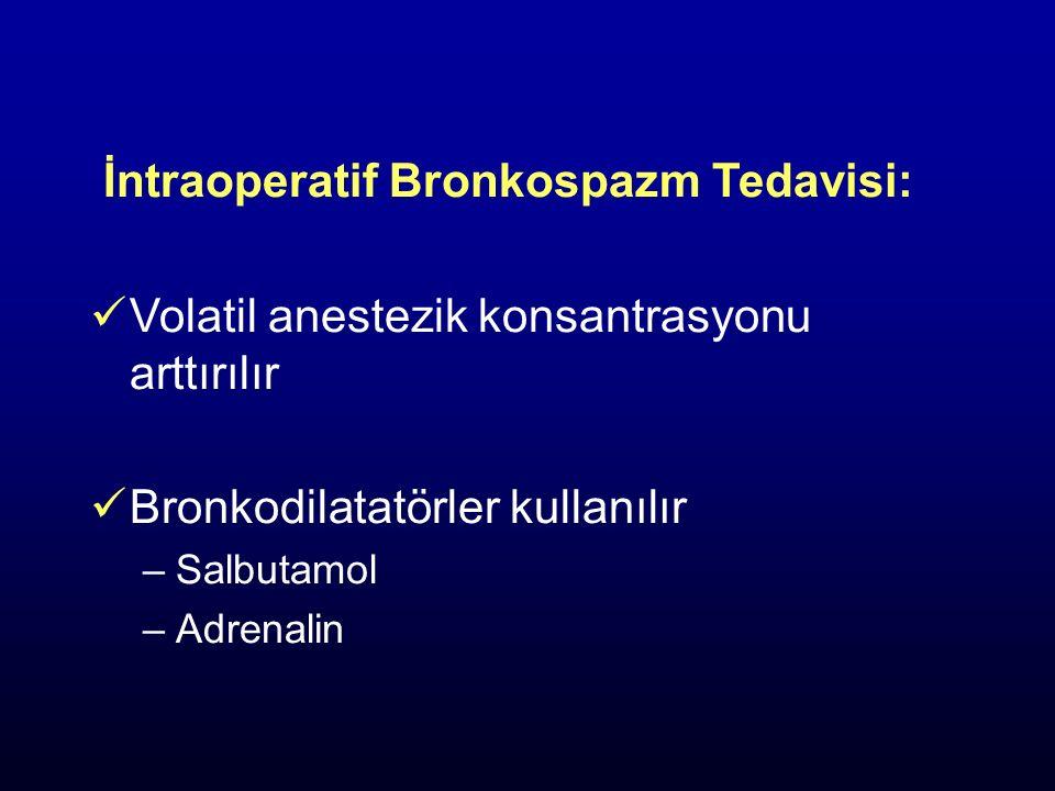 İntraoperatif Bronkospazm Tedavisi: Volatil anestezik konsantrasyonu arttırılır Bronkodilatatörler kullanılır –Salbutamol –Adrenalin