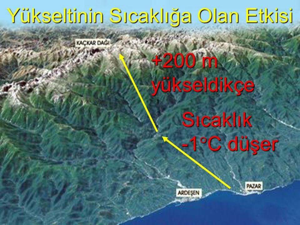 +200 m yükseldikçe Sıcaklık -1 ° C düşer Yükseltinin Sıcaklığa Olan Etkisi