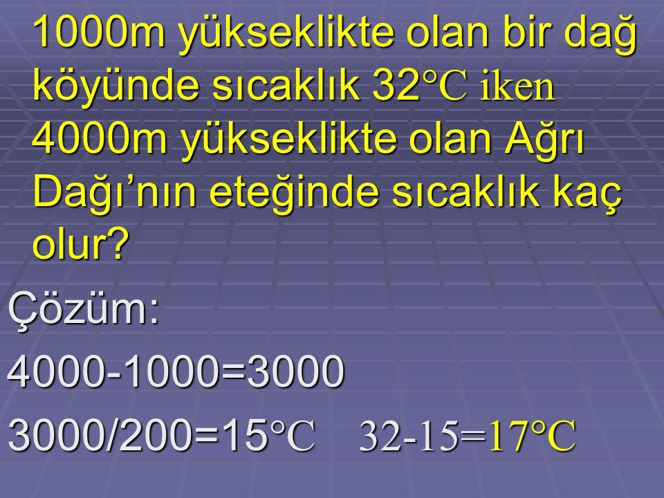 Çözüm:4000-1000=3000 3000/200=15 °C 32-15=17°C