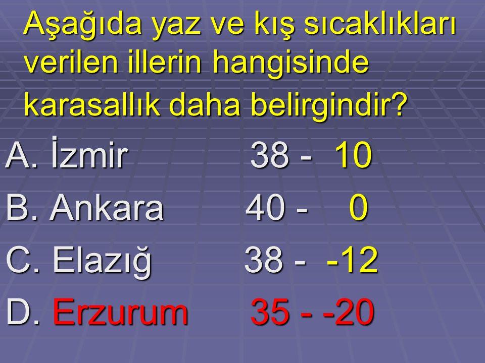 Aşağıda yaz ve kış sıcaklıkları verilen illerin hangisinde karasallık daha belirgindir? Aşağıda yaz ve kış sıcaklıkları verilen illerin hangisinde kar