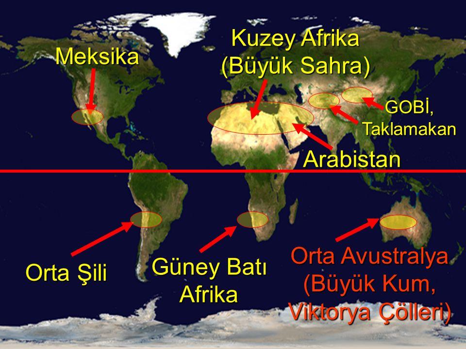 Kuzey Afrika (Büyük Sahra) Orta Avustralya (Büyük Kum, Viktorya Çölleri) Meksika Güney Batı Afrika Orta Şili Arabistan GOBİ, Taklamakan