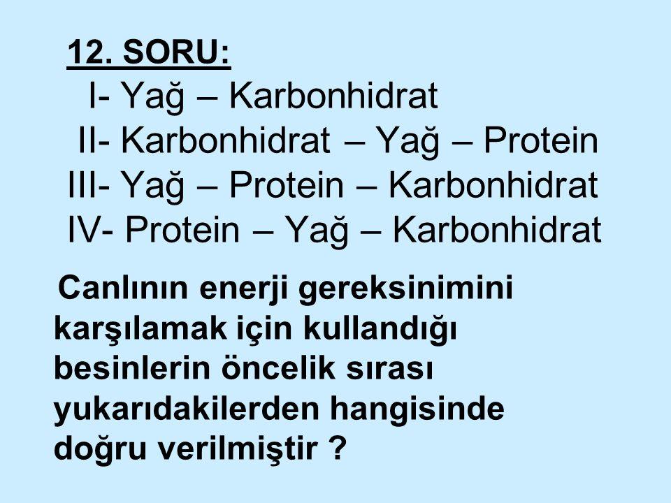 12. SORU: I- Yağ – Karbonhidrat II- Karbonhidrat – Yağ – Protein III- Yağ – Protein – Karbonhidrat IV- Protein – Yağ – Karbonhidrat Canlının enerji ge