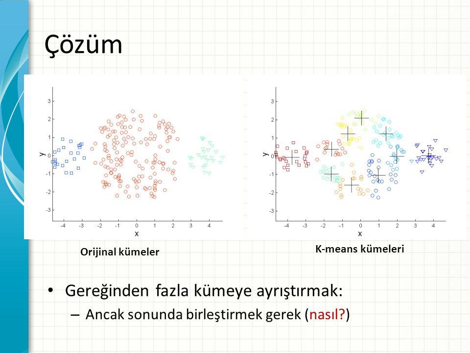 Gereğinden fazla kümeye ayrıştırmak: – Ancak sonunda birleştirmek gerek (nasıl?) Çözüm Orijinal kümeler K-means kümeleri