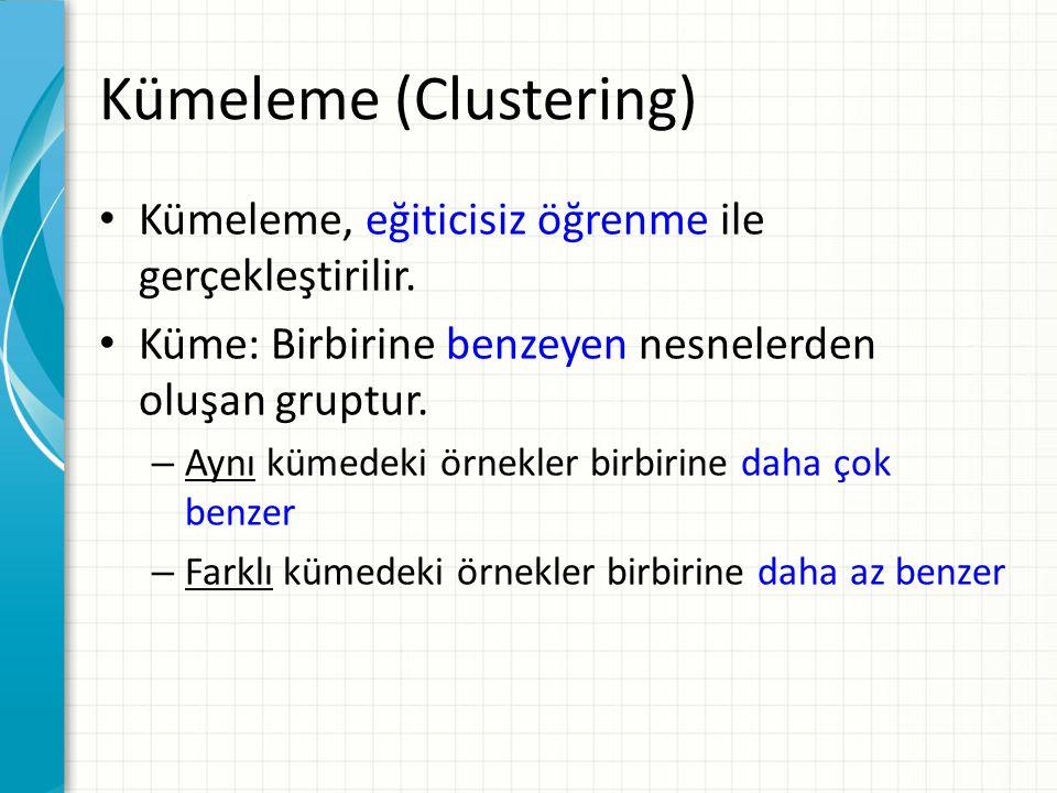 Kümeleme (Clustering) Kümeleme, eğiticisiz öğrenme ile gerçekleştirilir.