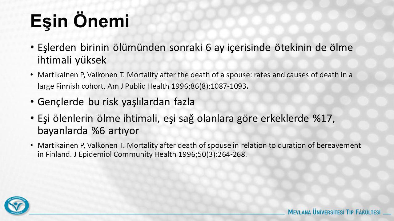 Eşin Önemi Eşlerden birinin ölümünden sonraki 6 ay içerisinde ötekinin de ölme ihtimali yüksek Martikainen P, Valkonen T.