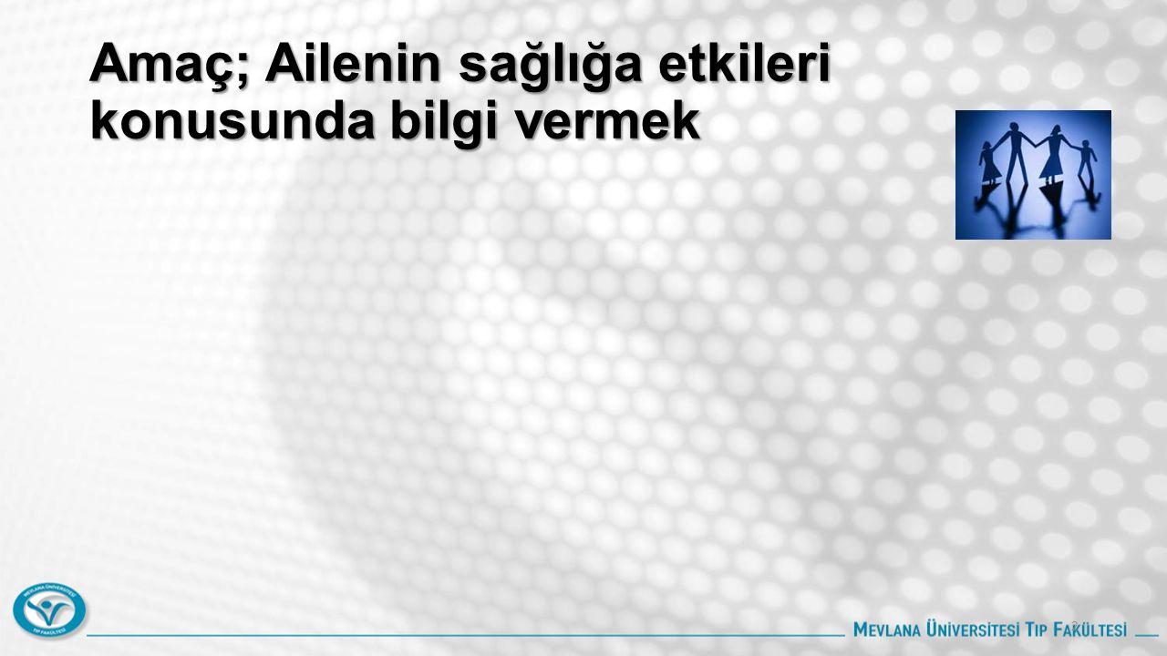 Hedefler Bu ders sonunda öğrenciler; Türkiye'nin aile yapısını açıklayabilmeli Aile ve sosyal desteğin bireyin sağlığına etkilerini açıklayabilmeli Ailenin bireyin sağlığını korumadaki etki ve önemini tartışabilmeli Boşanmanın aile üzerindeki etkilerini tartışabilmeli Boşanmanın çocuklar üzerindeki etkisini tartışabilmeli Aile hekiminin boşanma sürecinde aileye desteğini tartışabilmeli 3