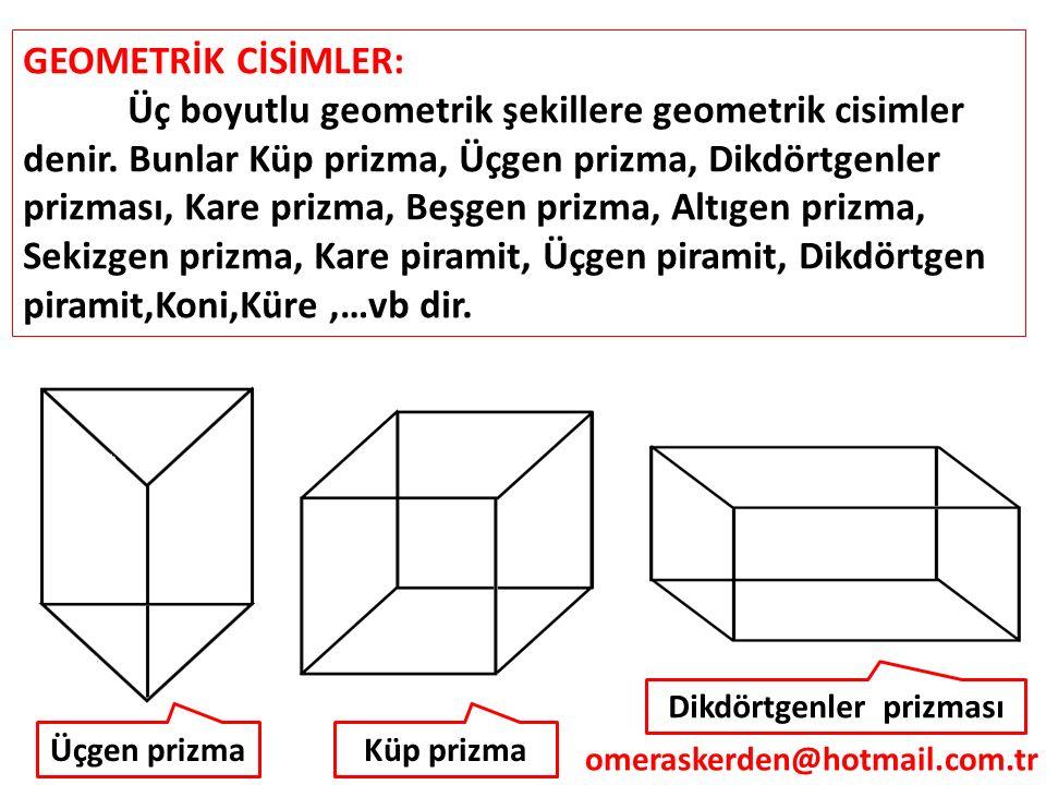 GEOMETRİK CİSİMLER: Üç boyutlu geometrik şekillere geometrik cisimler denir. Bunlar Küp prizma, Üçgen prizma, Dikdörtgenler prizması, Kare prizma, Beş