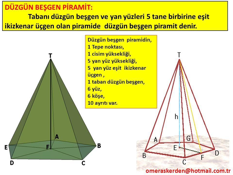 DÜZGÜN BEŞGEN PİRAMİT: Tabanı düzgün beşgen ve yan yüzleri 5 tane birbirine eşit ikizkenar üçgen olan piramide düzgün beşgen piramit denir. Düzgün beş