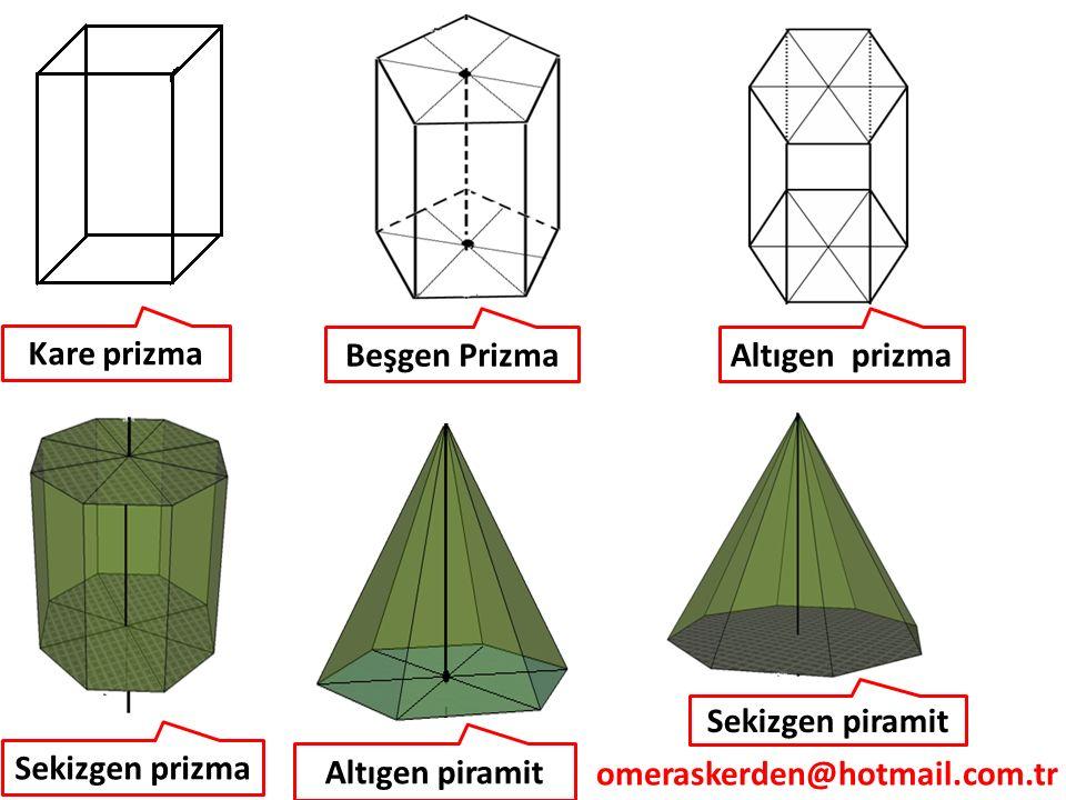 Kare prizma Altıgen prizmaBeşgen Prizma Sekizgen prizma Sekizgen piramit Altıgen piramit