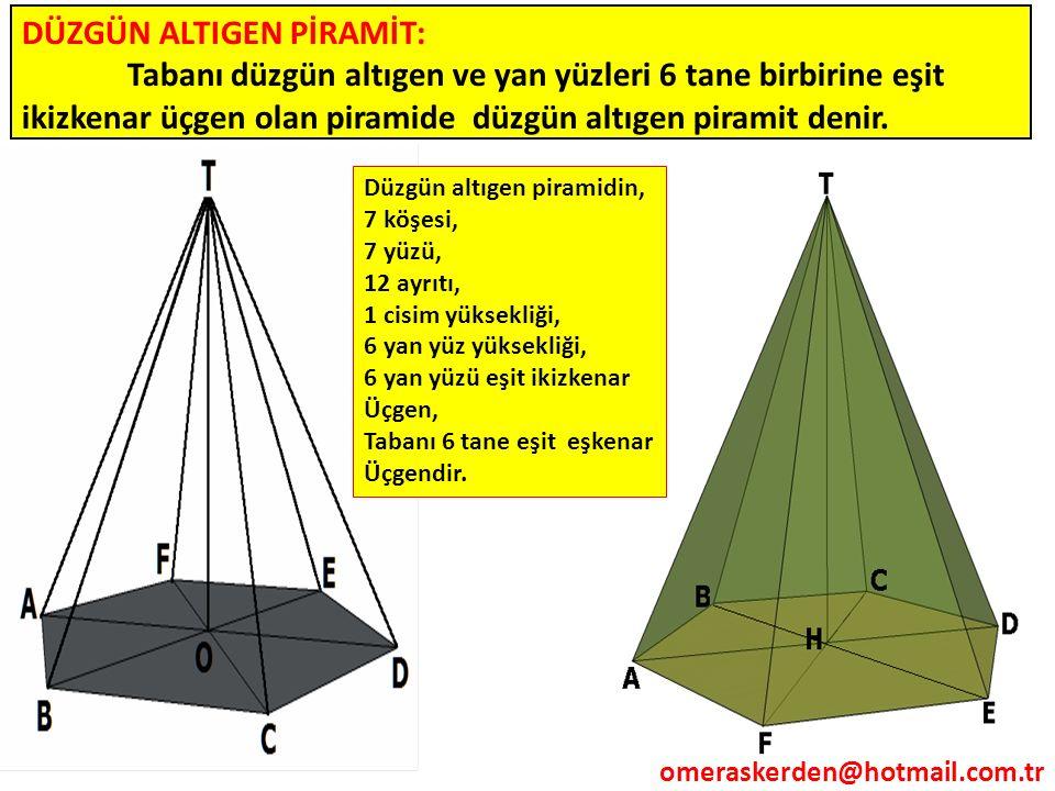DÜZGÜN ALTIGEN PİRAMİT: Tabanı düzgün altıgen ve yan yüzleri 6 tane birbirine eşit ikizkenar üçgen olan piramide düzgün altıgen piramit denir. Düzgün