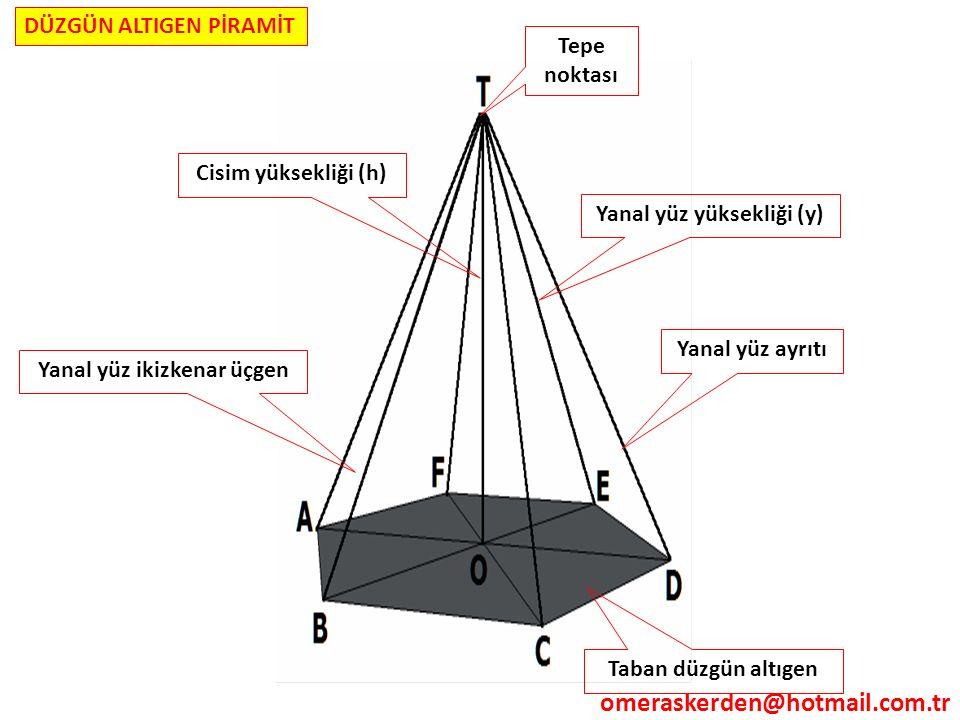 Tepe noktası Taban düzgün altıgen Yanal yüz yüksekliği (y) Yanal yüz ayrıtı Cisim yüksekliği (h) Yanal yüz ikizkenar üçgen DÜZGÜN ALTIGEN PİRAMİT omer