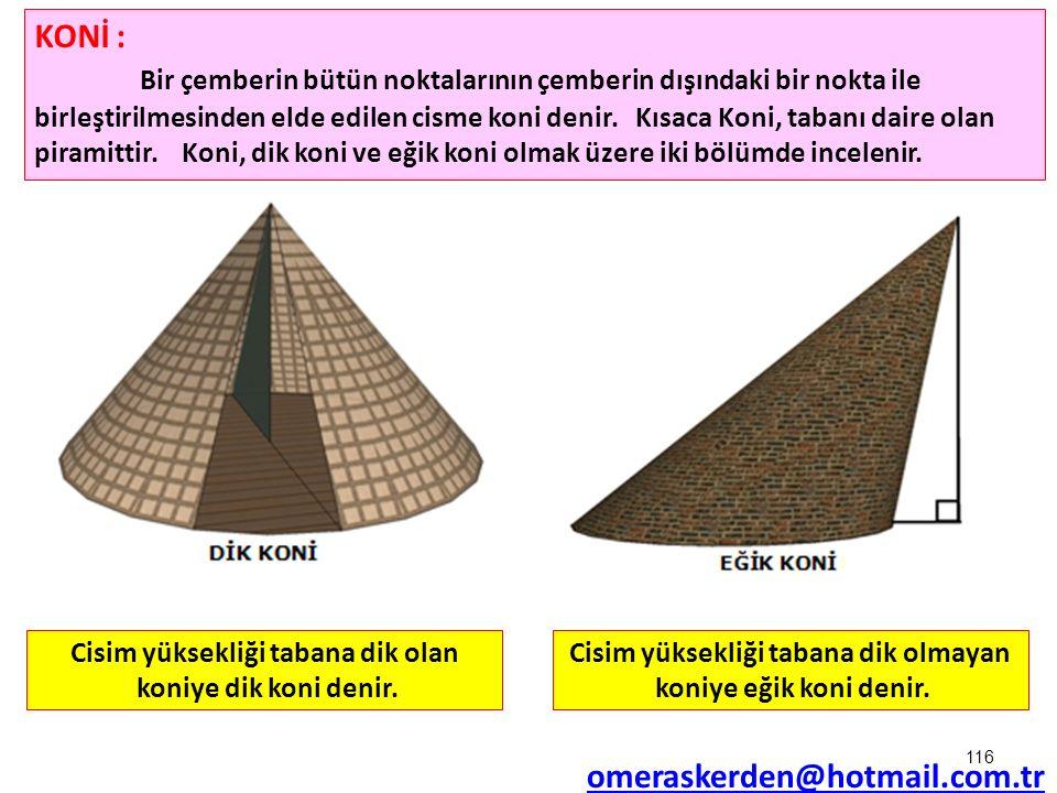 116 KONİ : Bir çemberin bütün noktalarının çemberin dışındaki bir nokta ile birleştirilmesinden elde edilen cisme koni denir. Kısaca Koni, tabanı dair